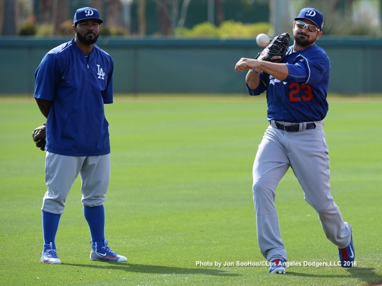 Los Angeles Dodgers Howie Kendrick and Adrian Gonzalez during workout Monday, February 29, 2016 at Camelback Ranch-Glendale in Phoenix, Arizona.
