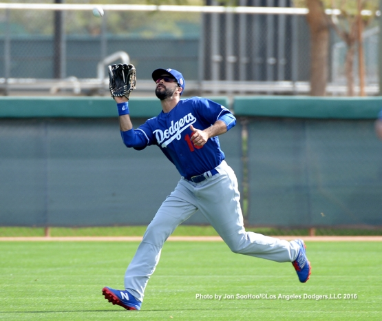Los Angeles Dodgers Andre Ethier during workout Monday, February 29, 2016 at Camelback Ranch-Glendale in Phoenix, Arizona.