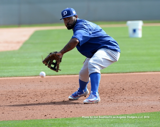 Los Angeles Dodgers Howie Kendrick during workout Monday, February 29, 2016 at Camelback Ranch-Glendale in Phoenix, Arizona.