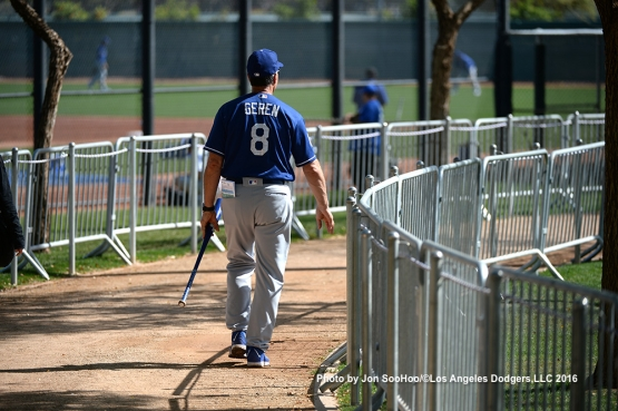 Los Angeles Dodgers Bob Geren during workout Monday, February 29, 2016 at Camelback Ranch-Glendale in Phoenix, Arizona.