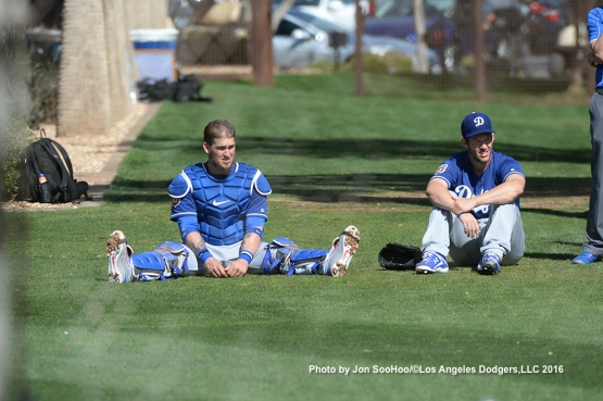 Los Angeles Dodgers Yasmani Grandal and Clayton Kershaw during workout Monday, February 29, 2016 at Camelback Ranch-Glendale in Phoenix, Arizona.
