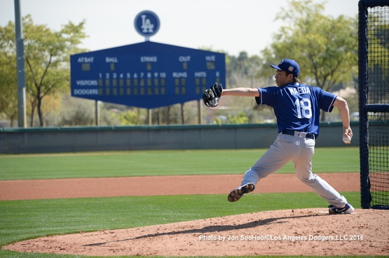 Los Angeles Dodgers Kenta Maeda during workout Monday, February 29, 2016 at Camelback Ranch-Glendale in Phoenix, Arizona.