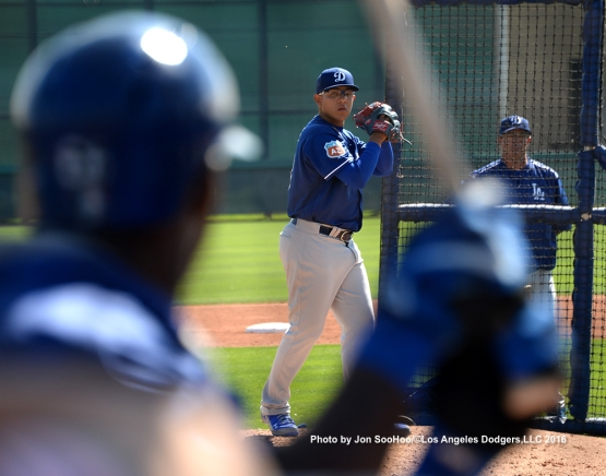 Los Angeles Dodgers Julio Urias during workout Monday, February 29, 2016 at Camelback Ranch-Glendale in Phoenix, Arizona.