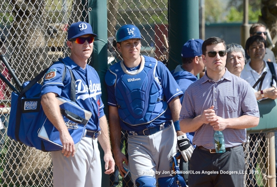 Los Angeles Dodgers Chase Utley, A.J. Ellis and Andrew Friedman during workout Monday, February 29, 2016 at Camelback Ranch-Glendale in Phoenix, Arizona.
