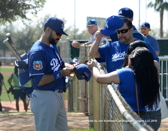 Los Angeles Dodgers Andre Ethier signs after workout Monday, February 29, 2016 at Camelback Ranch-Glendale in Phoenix, Arizona.