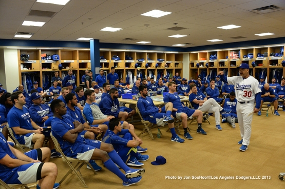 Los Angeles Dodgers manager Dave Roberts speaks to the team during first full squad meetingThursday, February 25, 2016 at Camelback Ranch-Glendale in Phoenix, Arizona.