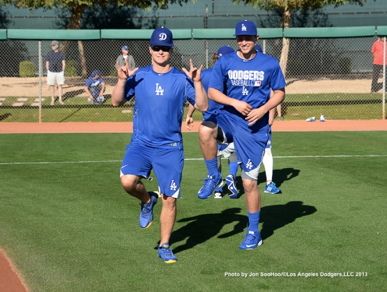 Los Angeles Dodgers Joc Pederson and Corey Seager during first full squad workout Thursday, February 25, 2016 at Camelback Ranch-Glendale in Phoenix, Arizona.