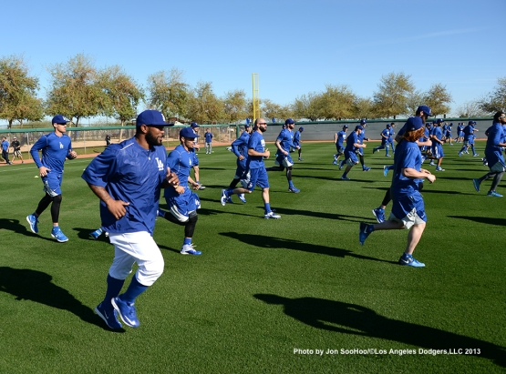 Los Angeles Dodgers first full squad workout Thursday, February 25, 2016 at Camelback Ranch-Glendale in Phoenix, Arizona.
