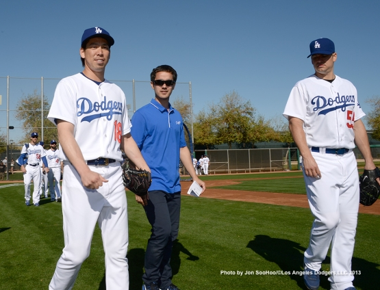 Los Angeles Dodgers Kenta Maeda during first full squad workout Thursday, February 25, 2016 at Camelback Ranch-Glendale in Phoenix, Arizona.