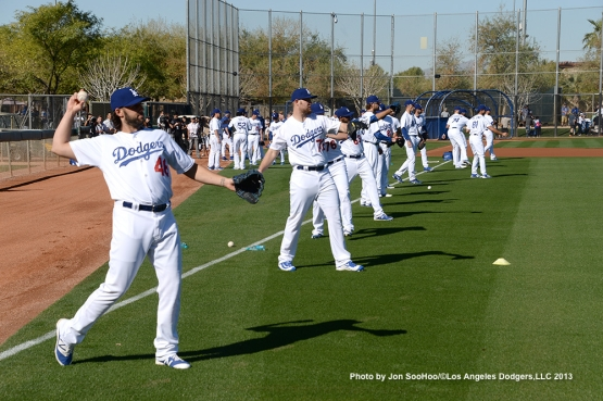 Los Angeles Dodgers warm up during  first full squad workout Thursday, February 25, 2016 at Camelback Ranch-Glendale in Phoenix, Arizona.