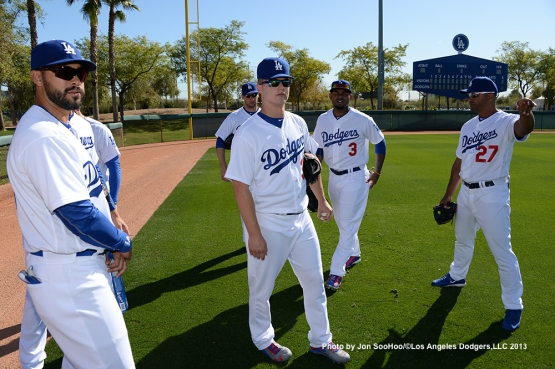 Los Angeles Dodgers outfielders during first full squad workout Thursday, February 25, 2016 at Camelback Ranch-Glendale in Phoenix, Arizona.