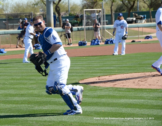 Los Angeles Dodgers Yasmani Grandal during first full squad workout Thursday, February 25, 2016 at Camelback Ranch-Glendale in Phoenix, Arizona.