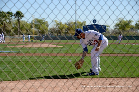 Los Angeles Dodgers Adrian Gonzalez fields ball during the first full squad workout Thursday, February 25, 2016 at Camelback Ranch-Glendale in Phoenix, Arizona.