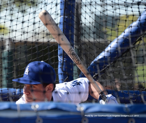 Los Angeles Dodgers Cody Bellinger hits during the first full squad workout Thursday, February 25, 2016 at Camelback Ranch-Glendale in Phoenix, Arizona.