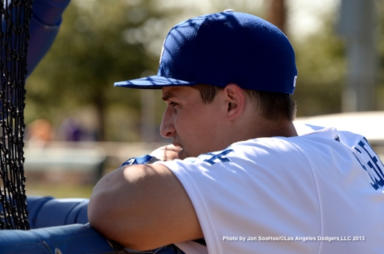 Los Angeles Dodgers Corey Seager watches batting practice during the first full squad workout Thursday, February 25, 2016 at Camelback Ranch-Glendale in Phoenix, Arizona.