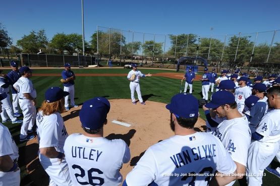 Los Angeles Dodgers Adrian Gonzalez talks the pitchers during the first full squad workout Thursday, February 25, 2016 at Camelback Ranch-Glendale in Phoenix, Arizona.