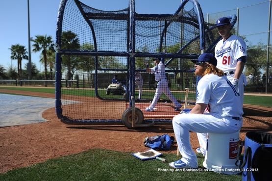 Los Angeles Dodgers Justin Turner watches batting practice during the first full squad workout Thursday, February 25, 2016 at Camelback Ranch-Glendale in Phoenix, Arizona.
