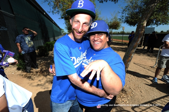 GREAT Los Angeles Dodgers fans pose during first full squad workout Thursday, February 25, 2016 at Camelback Ranch-Glendale in Phoenix, Arizona.