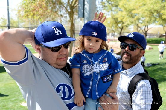 GREAT Los Angeles Dodgers fans during the first full squad workout Thursday, February 25, 2016 at Camelback Ranch-Glendale in Phoenix, Arizona.