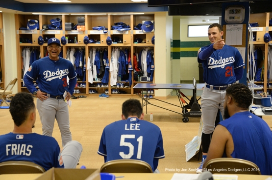 Los Angeles Dodgers Trayce Thompson addresses the team prior to workout Friday, March 4, 2016 at Camelback Ranch-Glendale in Phoenix, Arizona.