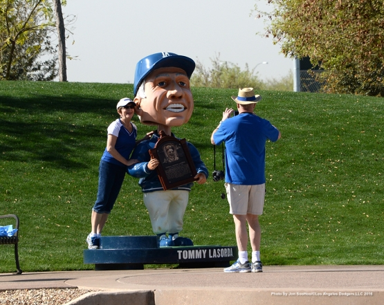 Los Angeles Dodgers Tommy Bobblehead provides a photo opportunity during workout Tuesday, March 1, 2016 at Camelback Ranch-Glendale in Phoenix, Arizona.