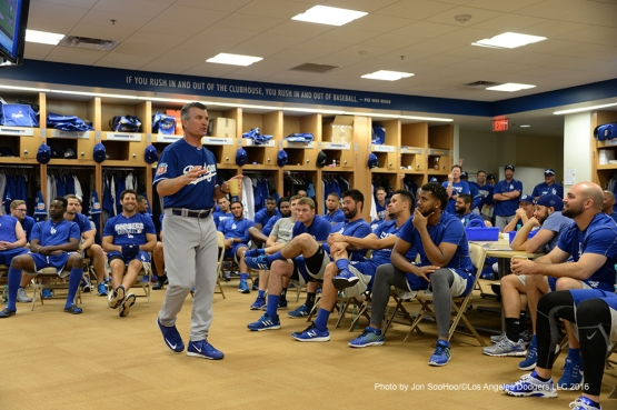 Los Angeles Dodgers Bob Geren speaks to the team prior to workout Wednesday, March 2, 2016 at Camelback Ranch-Glendale in Phoenix, Arizona.