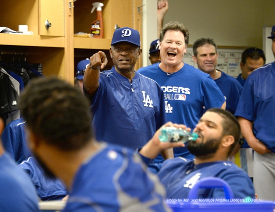 Los Angeles Dodgers Manny Mota is introduced to the team prior to workout Wednesday, March 2, 2016 at Camelback Ranch-Glendale in Phoenix, Arizona.