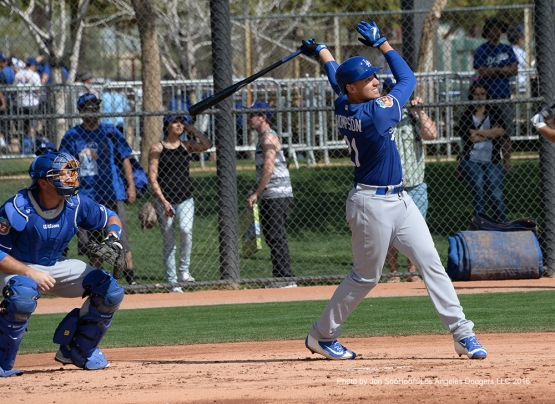 Los Angeles Dodgers Trayce Thompson hits during simulated game during workout Wednesday, March 2, 2016 at Camelback Ranch-Glendale in Phoenix, Arizona.