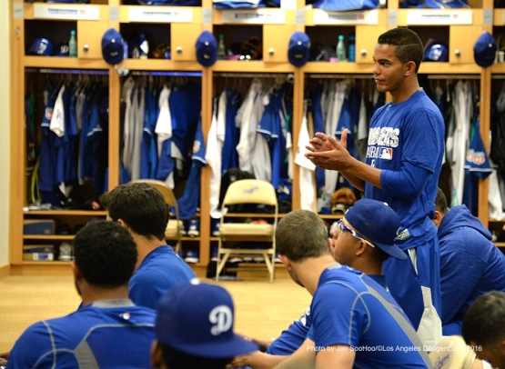 Los Angeles Dodgers Yasiel Sierra is introduced to the team during workout Thursday, March 3, 2016 at Camelback Ranch-Glendale in Phoenix, Arizona.