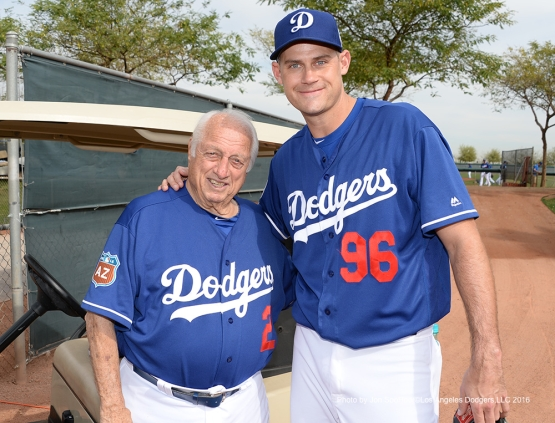 Los Angeles Dodgers Tom Lasorda and Jamey Wright  during workout Thursday, March 3, 2016 at Camelback Ranch-Glendale in Phoenix, Arizona.