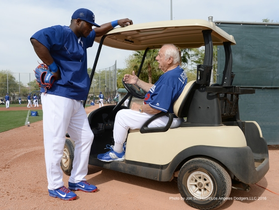 Los Angeles Dodgers Yasiel Puig and Tommy Lasorda during workout Thursday, March 3, 2016 at Camelback Ranch-Glendale in Phoenix, Arizona.