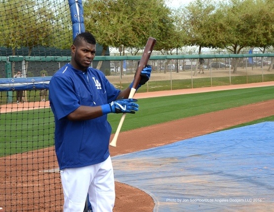 Los Angeles Dodgers Yasiel Puig during workout Thursday, March 3, 2016 at Camelback Ranch-Glendale in Phoenix, Arizona.