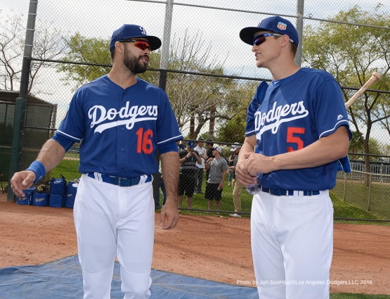 Los Angeles Dodgers Andre Ethier and Corey Seager during workout Thursday, March 3, 2016 at Camelback Ranch-Glendale in Phoenix, Arizona.