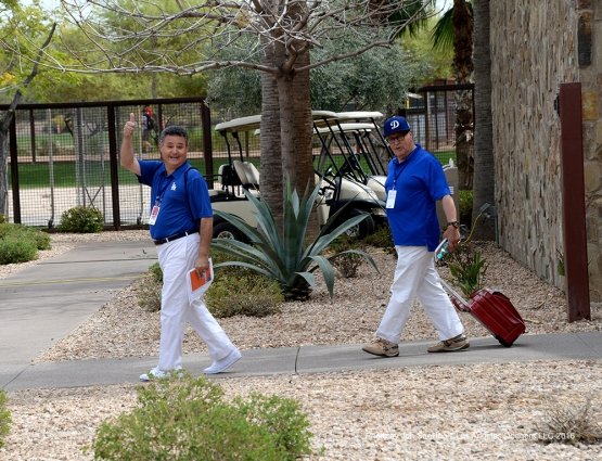 Los Angeles Dodgers Jorge Jarrin and Jaime Jarrin during workout Thursday, March 3, 2016 at Camelback Ranch-Glendale in Phoenix, Arizona.