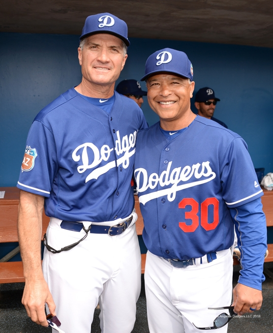 Los Angeles Dodgers Bob Geren and Dave Roberts during game against the Chicago White Sox Thursday, March 3, 2016 at Camelback Ranch-Glendale in Phoenix, Arizona.