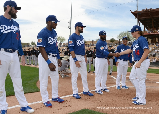 Los Angeles Dodgers Kike Hernandez is introduced prior to game against the Chicago White Sox Thursday, March 3, 2016 at Camelback Ranch-Glendale in Phoenix, Arizona.