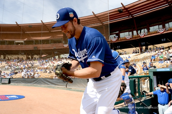 Los Angeles Dodgers Clayton Kershaw enters the field prior to game against the Chicago White Sox Thursday, March 3, 2016 at Camelback Ranch-Glendale in Phoenix, Arizona.