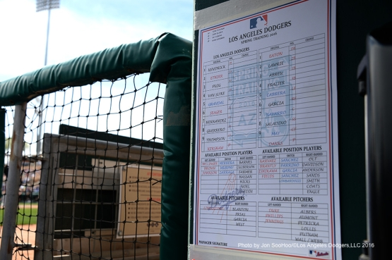 Los Angeles Dodgers lineup card before game against the Chicago White Sox Thursday, March 3, 2016 at Camelback Ranch-Glendale in Phoenix, Arizona.