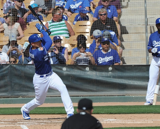 Los Angeles Dodgers Trayce Thompson during game against the Chicago White Sox Thursday, March 3, 2016 at Camelback Ranch-Glendale in Phoenix, Arizona.