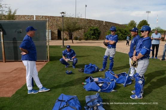 Los Angeles Dodgers Greg Maddux talks to pitchers during workout Saturday, March 5, 2016 at Camelback Ranch-Glendale in Phoenix, Arizona.
