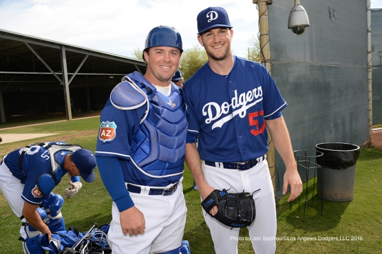 Los Angeles Dodgers Kyle Farmer and Alex Wood workout Saturday, March 5, 2016 at Camelback Ranch-Glendale in Phoenix, Arizona.