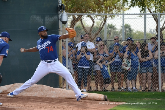 Los Angeles Dodgers Kenley Jansen during workout Saturday, March 5, 2016 at Camelback Ranch-Glendale in Phoenix, Arizona.