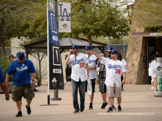 GREAT Los Angeles Dodgers fans during workout Saturday, March 5, 2016 at Camelback Ranch-Glendale in Phoenix, Arizona.