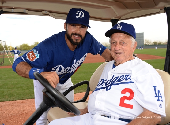Los Angeles Dodgers Andre Ethier and Tommy Lasorda pose during workout Saturday, March 5, 2016 at Camelback Ranch-Glendale in Phoenix, Arizona.