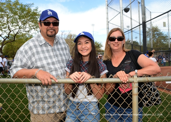 GREAT Los Angeles Dodgers fans pose during workout Saturday, March 5, 2016 at Camelback Ranch-Glendale in Phoenix, Arizona.