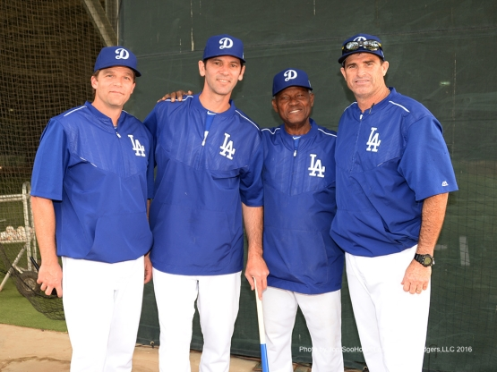 Los Angeles Dodgers Tim Hyers, Shawn Green, Manny Mota and Turner Ward pose during workout Saturday, March 5, 2016 at Camelback Ranch-Glendale in Phoenix, Arizona.