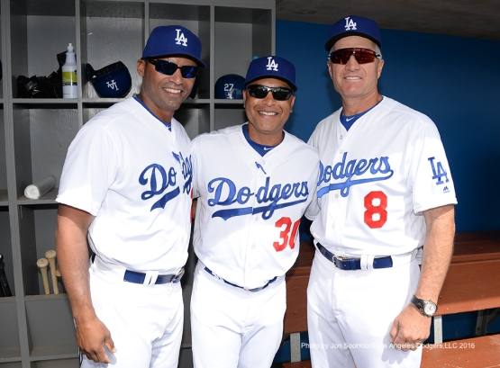 Los Angeles Dodgers George Lombard, Dave Roberts and Bob Geren prior to game against the Arizona Diamondbacks  Saturday, March 5, 2016 at Camelback Ranch-Glendale in Phoenix, Arizona.