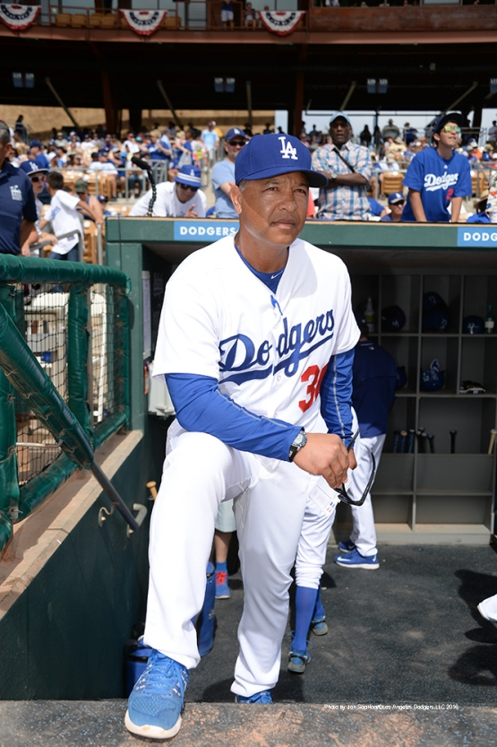 Los Angeles Dodgers Manager Dave Roberts prior to game against the Arizona Diamondbacks  Saturday, March 5, 2016 at Camelback Ranch-Glendale in Phoenix, Arizona.