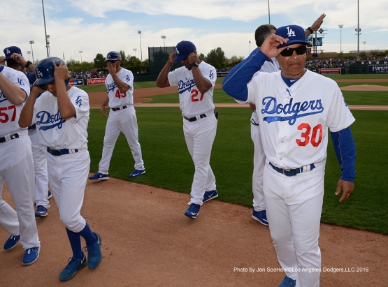 Los Angeles Dodgers prior to game against the Arizona Diamondbacks  Saturday, March 5, 2016 at Camelback Ranch-Glendale in Phoenix, Arizona.