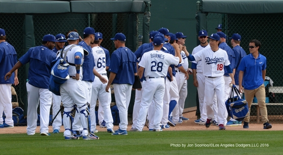 Los Angeles Dodgers Kenta Maeda goes through pregame bullpen ritual prior to game against the Arizona Diamondbacks  Saturday, March 5, 2016 at Camelback Ranch-Glendale in Phoenix, Arizona.